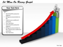 Business Development Strategy Template 3d Man On Rising Graph Characters