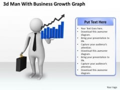 Business Development Strategy Template 3d Man With Growth Graph Characters