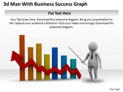 Business Development Strategy Template 3d Man With Success Graph Characters