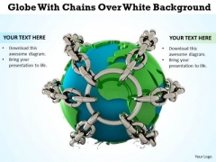 Business Development Strategy Template Globe With Chains Over White Background Photos