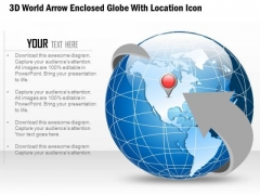 Business Diabram 3d World Arrow Enclosed Globe With Location Icon Presentation Template