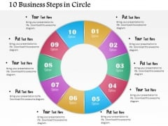 Business Diagram 10 Business Steps In Circle Presentation Template