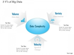 Business Diagram 3 Vs Of Big Data Showing Challenges And Complexity Of Analysis Ppt Slide