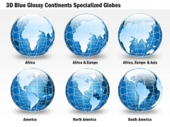 Business Diagram 3d Blue Glossy Continents Specialized Globes Presentation Template