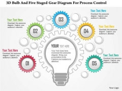 Business Diagram 3d Bulb And Five Staged Gear Diagram For Process Control Presentation Template