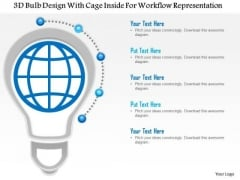 Business Diagram 3d Bulb Design With Cage Inside For Workflow Representation Presentation Template