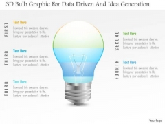 Business Diagram 3d Bulb Graphic For Data Driven And Idea Generation PowerPoint Slide