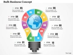 Business Diagram 3d Bulb With Ten Stages For Idea Generation Presentation Template