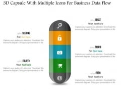 Business Diagram 3d Capsule With Multiple Icons For Business Data Flow PowerPoint Slide