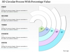 Business Diagram 3d Circular Process With Percentage Value Presentation Template