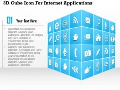 Business Diagram 3d Cube Icon For Internet Applications Presentation Template