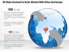 Business Diagram 3d Globe Enclosed In Arrow Marked With Africa And Europe Presentation Template