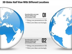 Business Diagram 3d Globe Half View With Different Locations Presentation Template