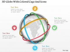 Business Diagram 3d Globe With Colored Cage And Icons Presentation Template