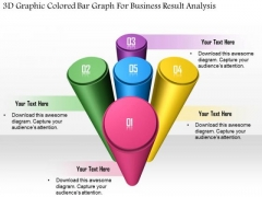 Business Diagram 3d Graphic Colored Bar Graph For Business Result Analysis Presentation Template