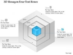 Business Diagram 3d Hexagon Four Text Boxes PowerPoint Template