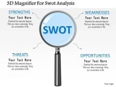 Business Diagram 3d Magnifier For Swot Analysis Presentation Template