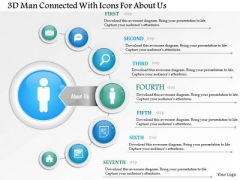 Business Diagram 3d Man Connected With Icons For About Us Presentation Template