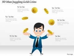 Business Diagram 3d Man Juggling Gold Coins Presentation Template