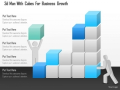 Business Diagram 3d Man With Cubes For Business Growth Presentation Template