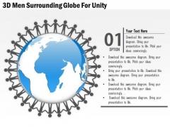 Business Diagram 3d Men Surrounding Globe For Unity Presentation Template