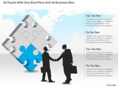 Business Diagram 3d Puzzle With One Blue Piece And 3d Business Men Presentation Template