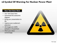 Business Diagram 3d Symbol Of Warning For Nuclear Power Plant Presentation Template