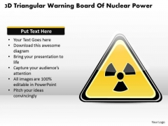 Business Diagram 3d Triangular Warning Board Of Nuclear Power Presentation Template