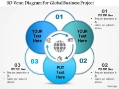 Business Diagram 3d Venn Diagram For Global Business Project Presentation Template