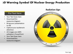 Business Diagram 3d Warning Symbol Of Nuclear Energy Production Presentation Template