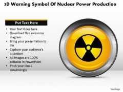 Business Diagram 3d Warning Symbol Of Nuclear Power Production Presentation Template