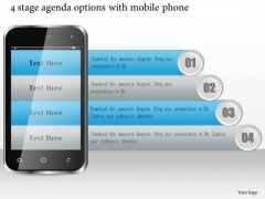 Business Diagram 4 Stage Agenda Options With Mobile Phone Presentation Template