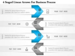 Business Diagram 4 Staged Linear Arrows For Business Process Presentation Template