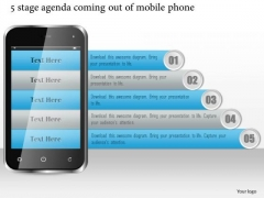 Business Diagram 5 Stage Agenda Coming Out Of Mobile Phone Presentation Template