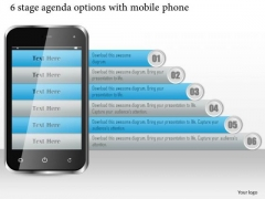 Business Diagram 6 Stage Agenda Options With Mobile Phone Presentation Template