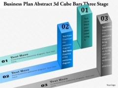 Business Diagram Abstract 3d Cube Bars Three Stages Presentation Template