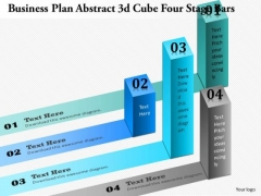 Business Diagram Abstract 3d Cube Four Stage Bars Presentation Template