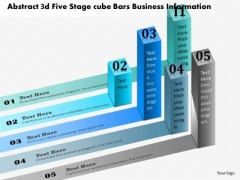 Business Diagram Abstract 3d Five Stage Cube Bars Business Information Presentation Template