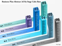 Business Diagram Abstract 3d Six Stage Cube Bars Presentation Template