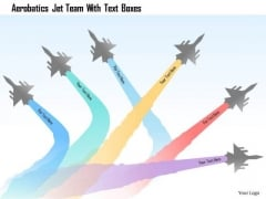 Business Diagram Aerobatics Jet Team With Text Boxes Presentation Template