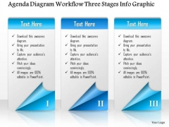 Business Diagram Agenda Diagram Workflow Three Stages Info Graphic Presentation Template