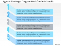 Business Diagram Agenda Five Stages Diagram Workflow Info Graphic Presentation Template