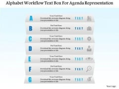 Business Diagram Alphabet Workflow Text Box For Agenda Representation Presentation Template