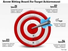 Business Diagram Arrow Hitting Board For Target Achievement Presentation Template