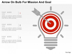 Business Diagram Arrow On Bulb For Mission And Goal Presentation Template