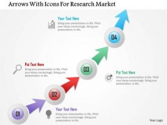 Business Diagram Arrows With Icons For Research Market Presentation Template