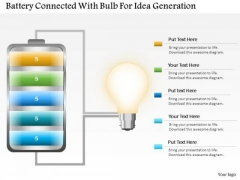 Business Diagram Battery Connected With Bulb For Idea Generation PowerPoint Slide