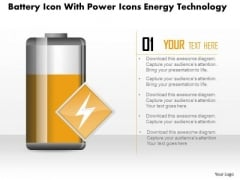 Business Diagram Battery Icon With Power Icons Energy Technology PowerPoint Slide