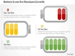 Business Diagram Battery Icons For Business Growth PowerPoint Templates