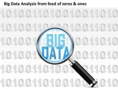 Business Diagram Big Data Analysis From Feed Of Zeros And Ones 0s And 1s Magnifying Glass Ppt Slide